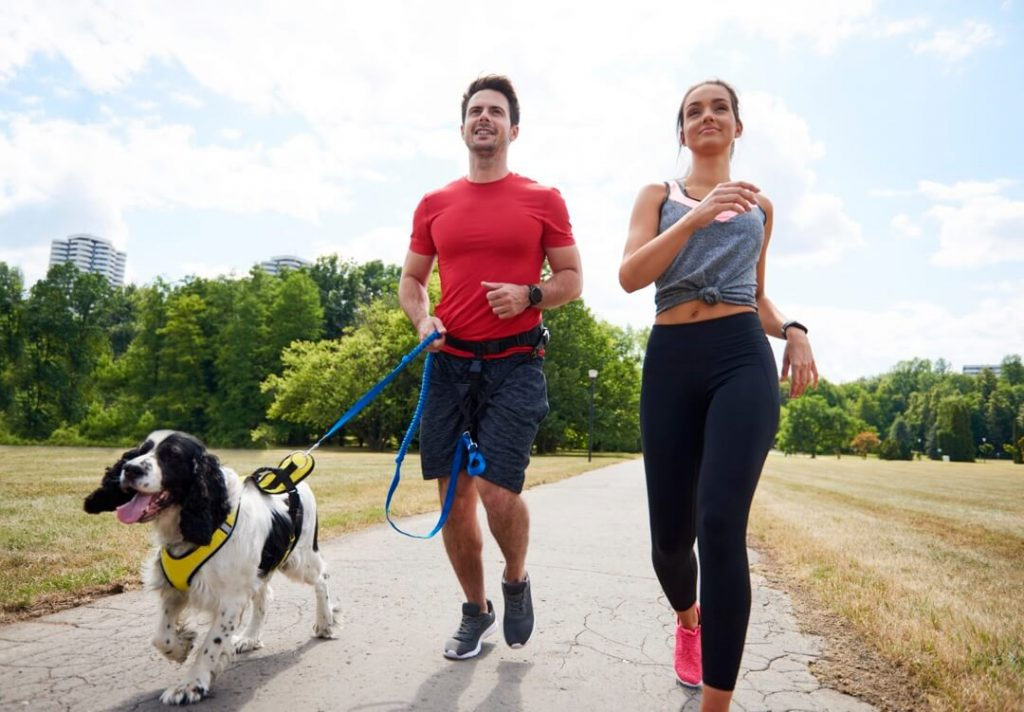 Un couple pratiquant l'exercice du Canicross avec leur chien